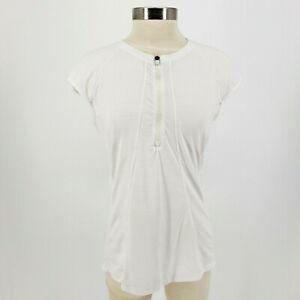 Athleta Womens Large White Short Sleeve Zip Front Athletic Top Tee TShirt