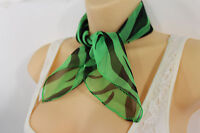 Women Fashion Green Neck Scarf Fabric Black Zebra Animal Print Pocket Square