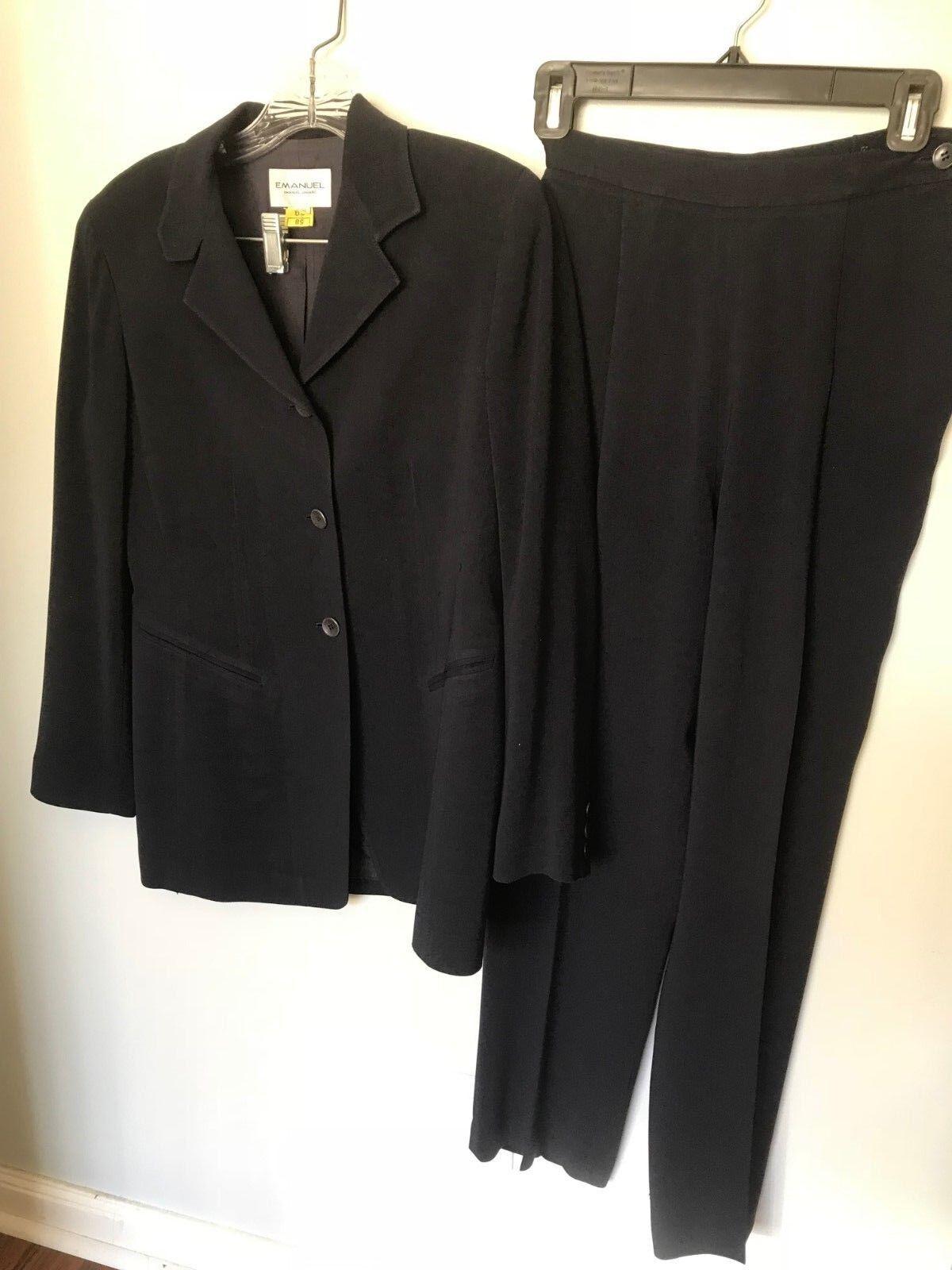 Emanuel Ungaro Navy 3 Button Side Zip Pant Suit - Size 2 36