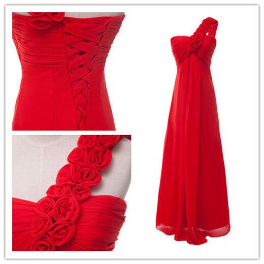 rojo Vestido de noche/ fiesta /dama/ honor/ novia / cóctel/ formal largo Vestido