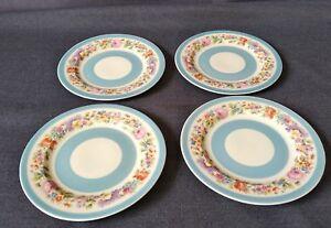 Antique-Steubenville-Blue-Trim-Multicolor-Floral-6-1-4-034-Side-Plates-Set-of-4