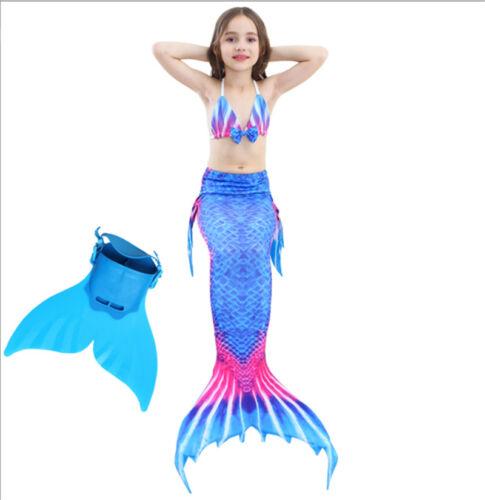 Kids Girls Mermaid Tail Swimmable Swimming Bikini Sets With Mono Fin Swimwear