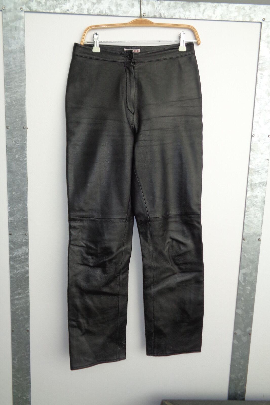 Lederhose schwarz Echtleder Gr. S 36 High Waist Top Zustand
