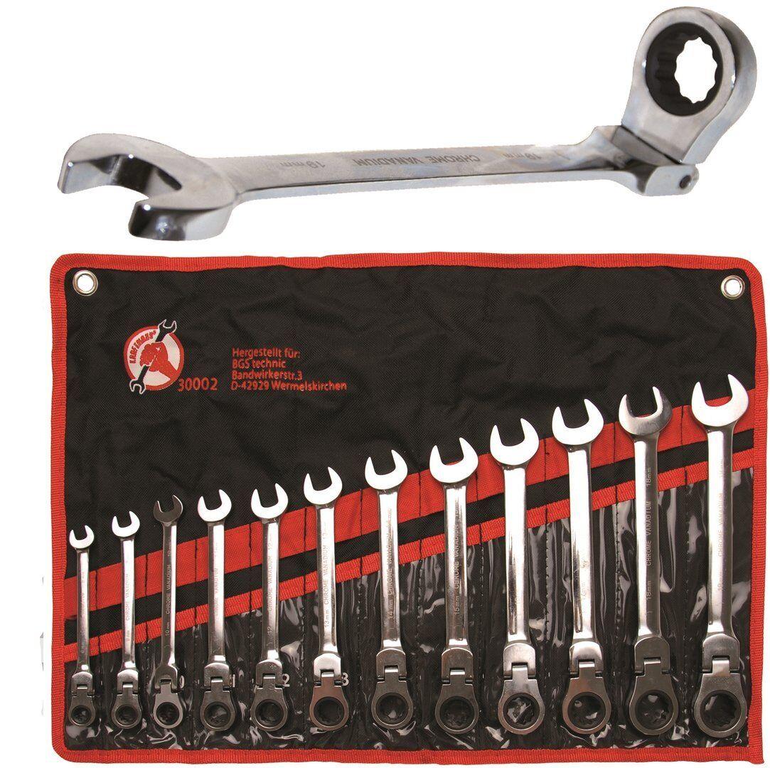 Gelenk Ratschenring-Maulschlüssel-Satz 8-19 mm 12-tlg Ringratschenschlüssel Set