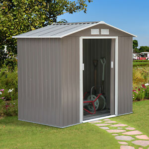 7-039-x4-039-Garden-Storage-Shed-Tool-Cabinet-w-Floor-Foundation-Outdoor-Steel-Grey