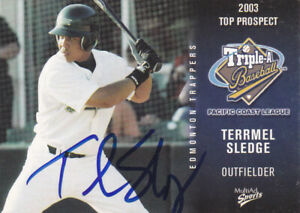 TERRMEL SLEDGE EDMONTON TRAPPERS SIGNED 2003 CARD WASHINGTON NATIONALS SD PADRES