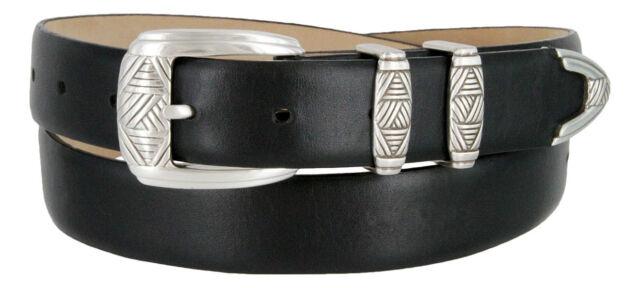 "The Napa -- Genuine Leather Italian Calfskin Designer Dress Belt, 1-1/8"" Wide"