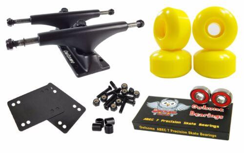 ABEC 7 Bearings Combo Owlsome 5.0 Black Skateboard Trucks 52mm Wheels