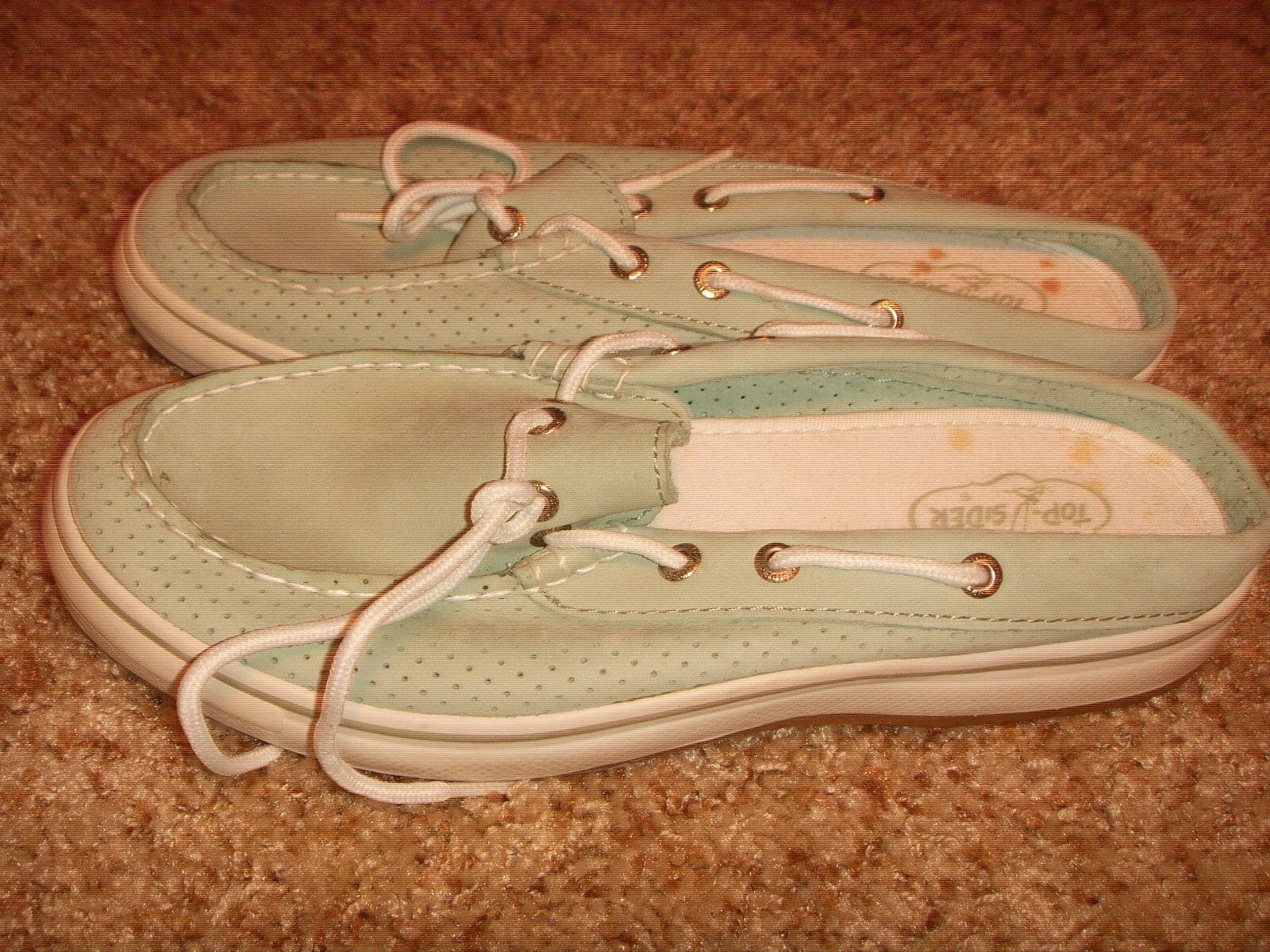Sperry Top Leather Sider Slip On Shoes Mules Sea Green Leather Top Womens Sz 7M 2508d9