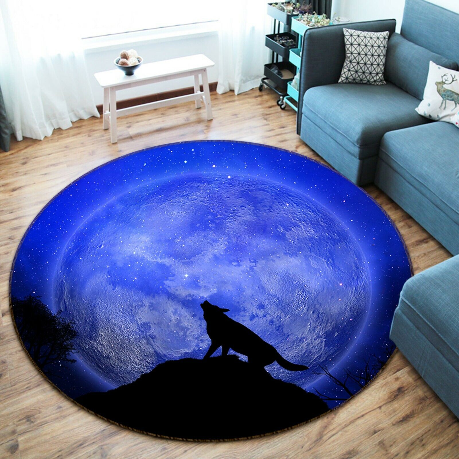 3D Wolf Howling Moon O124  Animal Non Slip Rug Mat Elegant Photo Carpet Amy