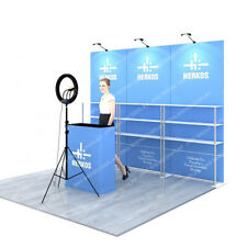 10ft Portable Tension Fabric Trade Show Display Modular Booth Set Podium Shelves
