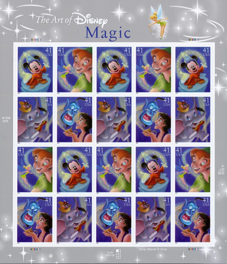 2007 41c The Art of Disney, Magic, Sheet of 20 Scott 41