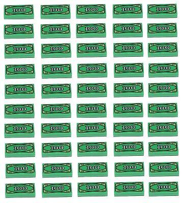 Lego Money Tile 25 Piece Lot Cash $100 Dollar Bill Euro Green Pattern Print