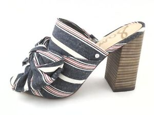6c0fb3943007 SAM EDELMAN Sandals YUMI Slip on Heels Denim Blue Red Stripe Bow US ...