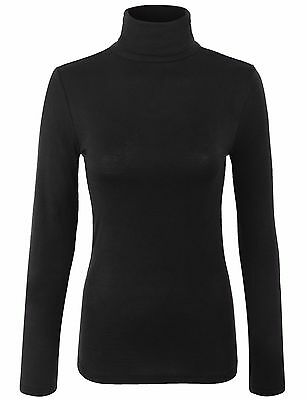 Womens Turtleneck Long Sleeve Basic Solid Fitted Shirt with Stretch-157