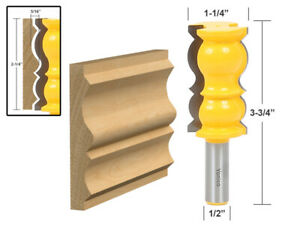 "2-1/4"" Colonial Crown Molding Router Bit - 1/2"" Shank - Yonico 16148"
