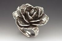 Silver Spoon Rose Flower Spoon Ring Silver Plated One Size Fits Most