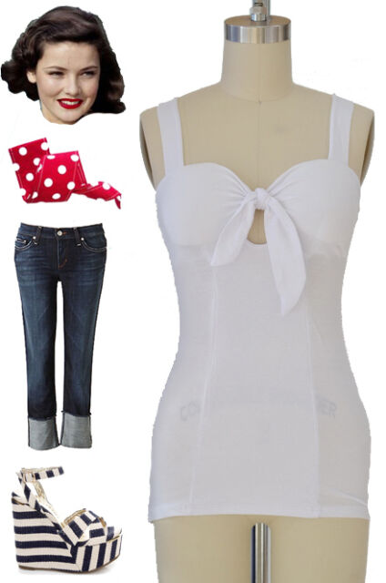 50s Style BOMBSHELL Pinup WHITE Tight Fit Tank Top with TIE BUST & Keyhole