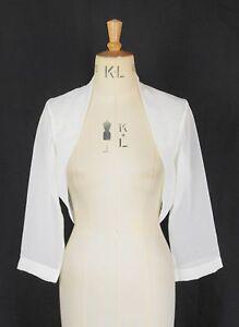 Baylis-Knight-Cream-Chiffon-3-4-Sleeve-BOLERO-Cardigan-Wrap-Stole-Shrug-Wedding