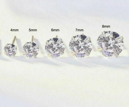Genuino 925 Plata Esterlina Cubic Zirconia Cristal Pendientes con Pasador redondo para hombres y mujeres