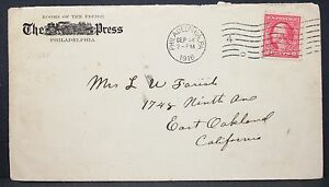 Philadelphia-Press-Historic-US-Advertising-Cover-Date-Stamp-1916-USA-Brief-Y-99