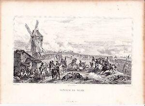 Gravure XIXe Bataille de Valmy Marne Révolution Française Camp de la Lune