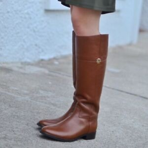 6df7f4758ed NIB Tory Burch Jolie Riding Boots Pebbled Leather Rustic Brown Size ...