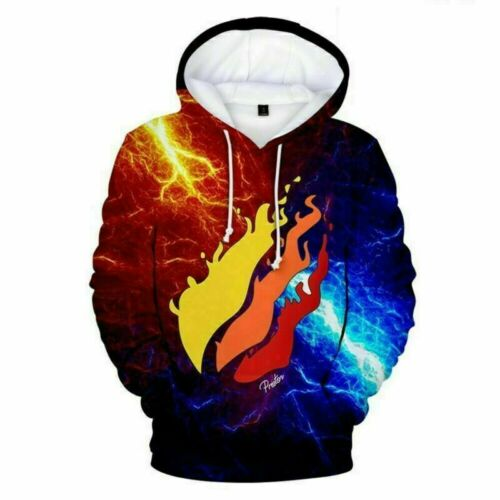 Kids Boys Girls Prestonplayz Flame Thunder Hoodies Pullover Jumper Hooded Top UK