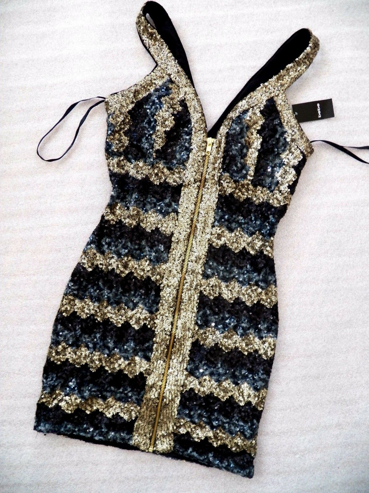 NWT Bebe hot Gold sequin double v neck sexy zip front top dress XS 0 2 party