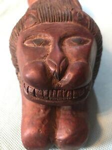 Solid-Wood-Folk-Art-Smiling-Lion-Hand-carved-11-5-long-4-tall-Vintage