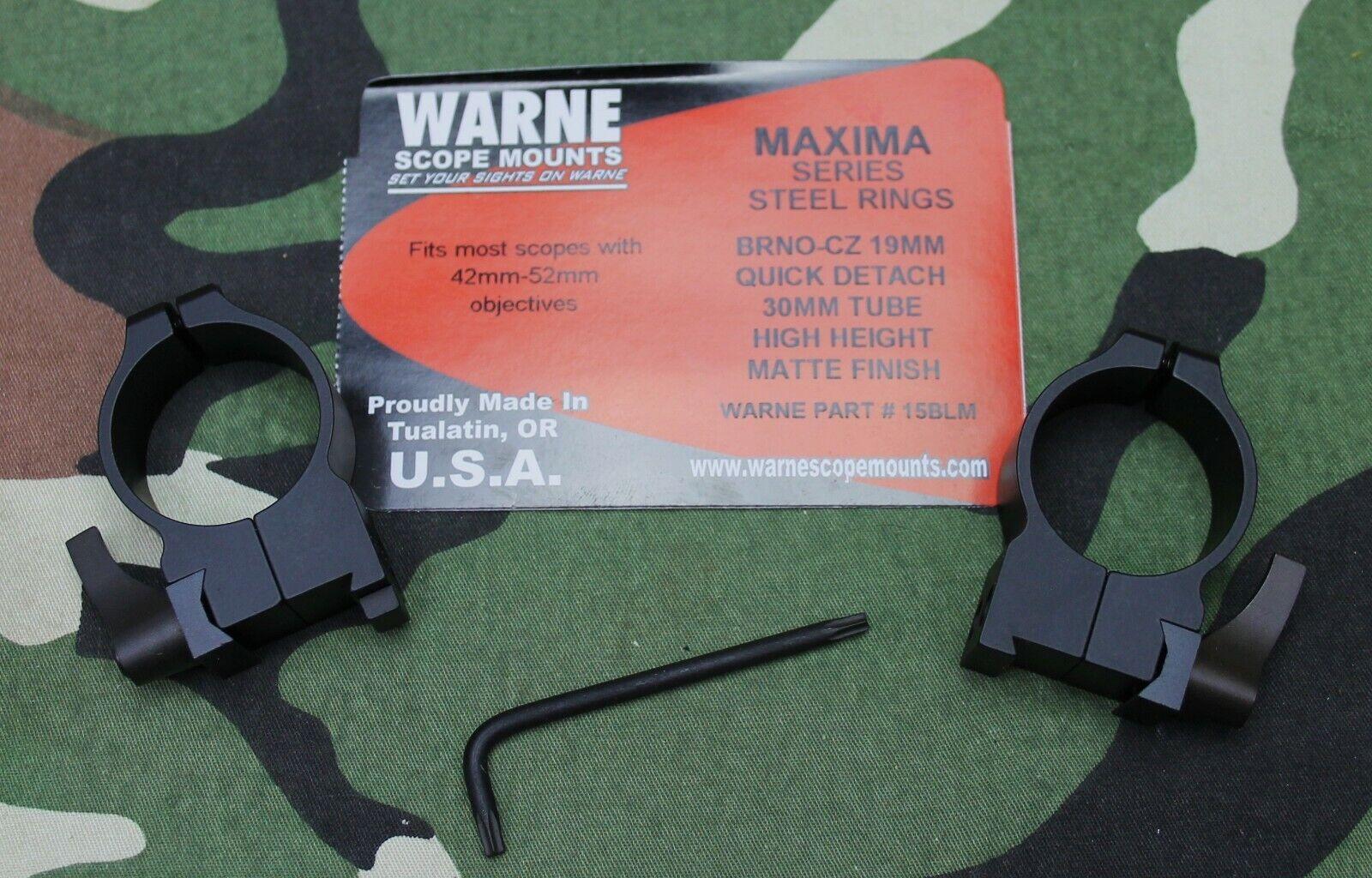 Warne Maxima Scope Rings for CZ 550 30mm High Quick Detach Matte 15BLM