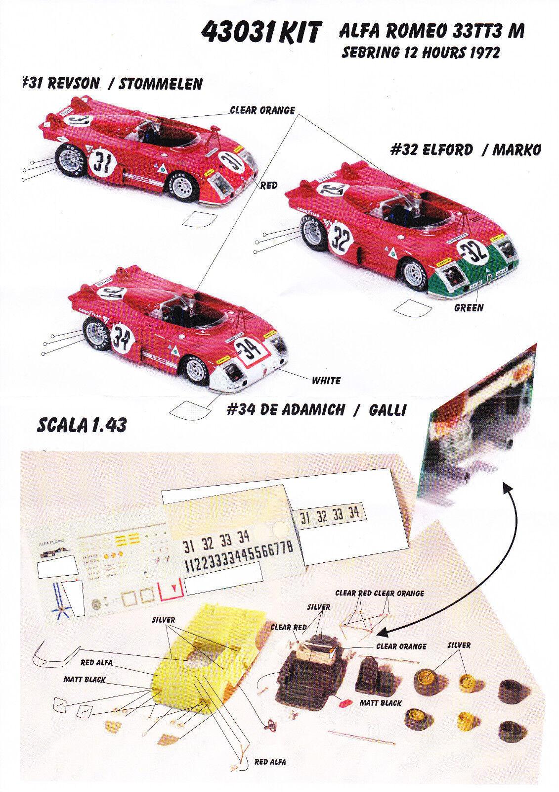 kit Alfa Romeo 33 TT3 M Sebring 2018 (3 versioni) - Modelling Plus kit 1/43