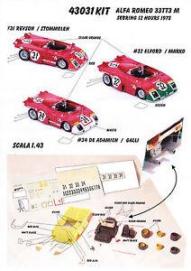Kit Alfa Romeo 33 Tt3 M Sebring 1972 (3 versions) - Modélisation Plus 1/43