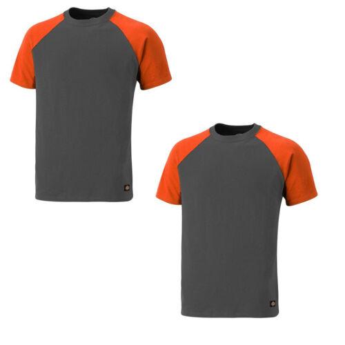 Sizes S-XXXL Dickies Two Tone T-Shirt TWIN PACK Grey /& Orange Men/'s Work Top
