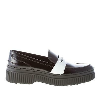 TOD'S women shoes Black leather white patent penny loafer ...