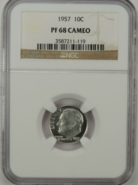 1957-P 10C ROOSEVELT SILVER DIME GEM PROOF NGC PF68