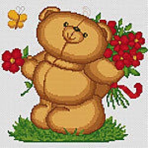 Flowers Bear Counted Cross Stitch Kit