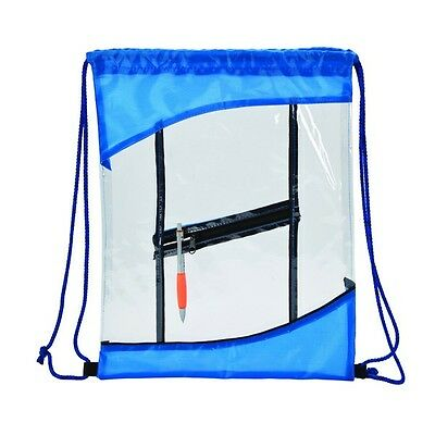 Brand New The Clarity Clear PVC Drawstring Cinch Backpack Blue