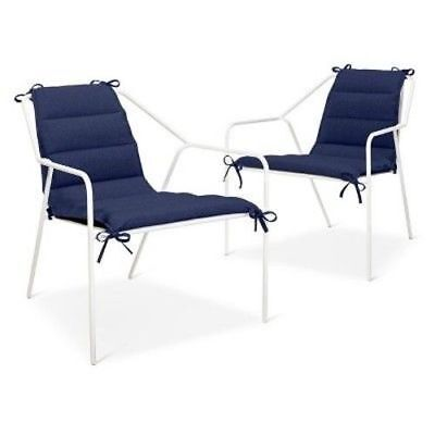 New Modern By Dwell Patio Outdoor Lounge Chair Cushion Set Of 2 Navy Blue Ebay