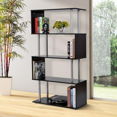 4-Tires Wooden Bookcase S Shape Storage Display Unit Home Décor Furniture