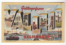 [53620] 1945 LARGE LETTER POSTCARD GREETINGS FROM VALEJO, CALIFORNIA
