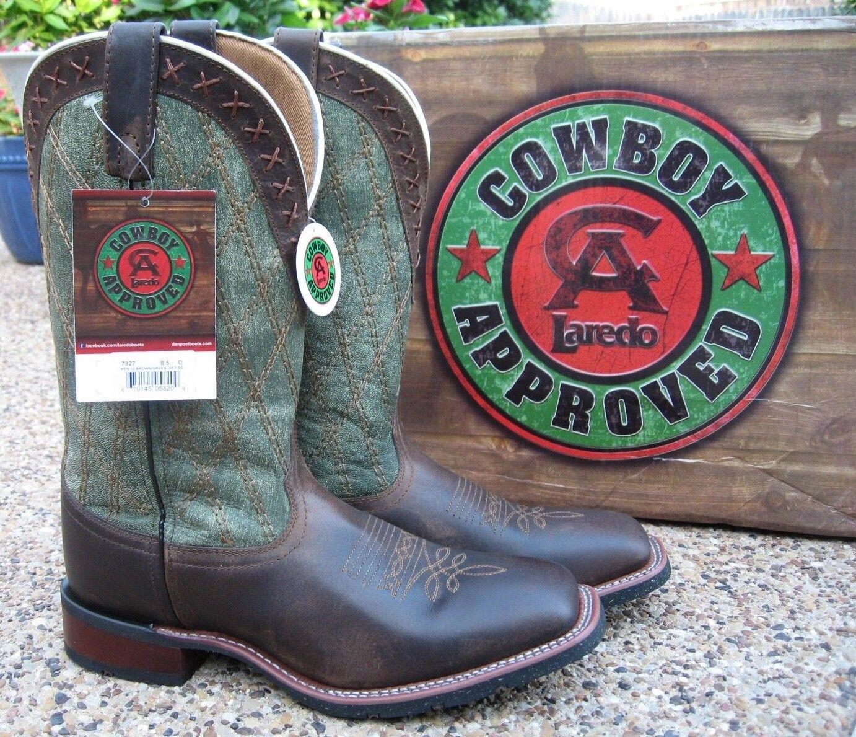 Nuevo Para hombres Cuero Marrón verde Larojoo Trent Puntera Cuadrada Western Cowboy botas 7827