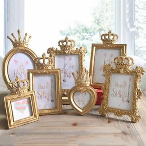 4pcs Gold Crown Photo Frame Resin