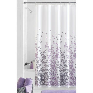 Image Is Loading Fabric Shower Curtain Lilac And Gray Leaf Print