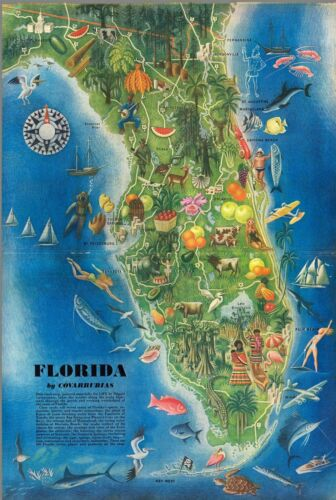 Florida scenic tourist drive main highways 1946 pictorial map POSTER 11491