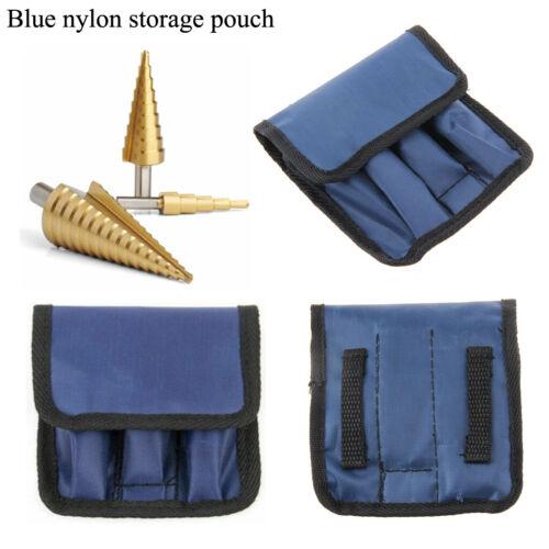 3 Piece Large HSS Step Cone Drill Set Blue Nylon Storage Pouch RENNIE TOOLS
