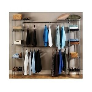 Image Is Loading Metal Closet Organizer  Expandable System Storage Shelving Unit