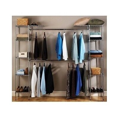 Metal Closet Organizer Expandable System Storage Shelving Unit Bedroom Shelves