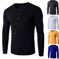 Mens Fashion Casual Slim Fit Crew-Neck T-Shirt Long Sleeve Muscle Basic Tee Tops