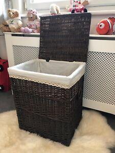 Large-Dark-Chestnut-Brown-Wicker-Laundry-Basket-Storage-Box-Lining-Lid-handles